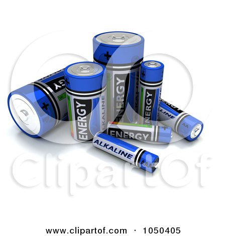 Royalty-Free (RF) Clip Art Illustration of 3d Blue Alkaline Batteries by KJ Pargeter