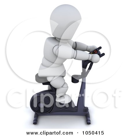 Royalty-free clipart illustration of a 3d white character using an exercise