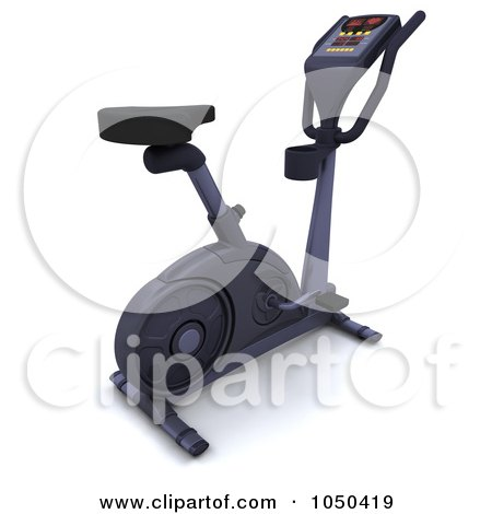 Royalty-free clipart illustration of a 3d exercise bike,