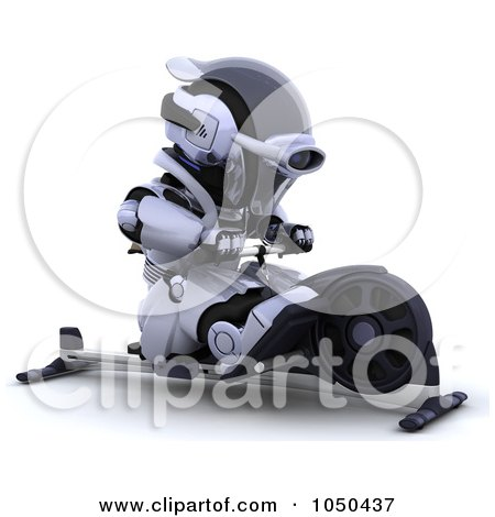 Royalty-Free (RF) Clip Art Illustration of a 3d Robot Using A Rowing Machine by KJ Pargeter
