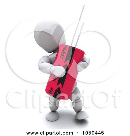 Royalty-Free (RF) Clip Art Illustration of a 3d White Character Holding A Capacitor by KJ Pargeter
