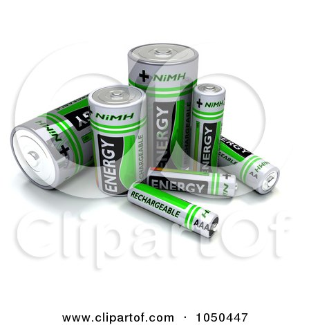 Royalty-Free (RF) Clip Art Illustration of 3d Green NiMH Batteries by KJ Pargeter