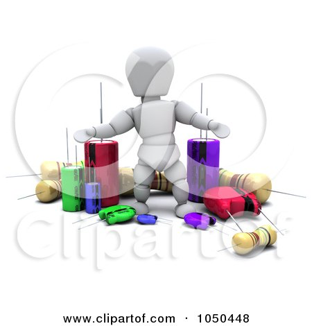 Royalty-Free (RF) Clip Art Illustration of a 3d White Character With Electronic Components by KJ Pargeter