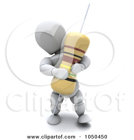 Royalty-Free (RF) Clip Art Illustration of a 3d White Character Holding A Resistor by KJ Pargeter