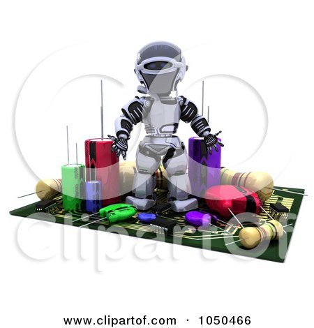 Royalty-Free (RF) Clip Art Illustration of a 3d Robot Surrounded By Computer Components by KJ Pargeter