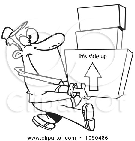 Royalty-Free (RF) Clip Art Illustration of a Line Art Design Of A Happy Mover Man Carrying Boxes by toonaday