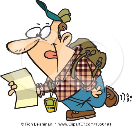 Royalty-Free (RF) Clip Art Illustration of a Geochaching Guy Holding A Map by toonaday