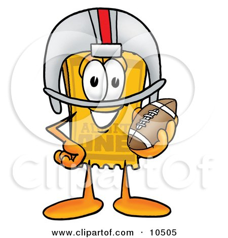 Clipart Picture of a Yellow Admission Ticket Mascot Cartoon Character in a Helmet, Holding a Football by Toons4Biz