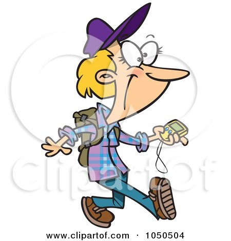 Royalty-Free (RF) Clip Art Illustration of a Geocaching Lady Holding A Gps Device by toonaday