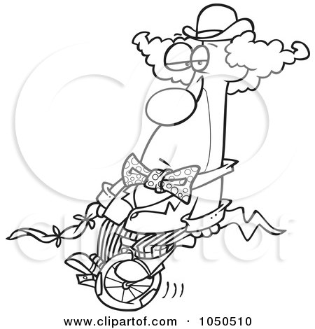 Royalty-Free (RF) Clip Art Illustration of a Line Art Design Of A Bored Clown On A Unicycle by toonaday