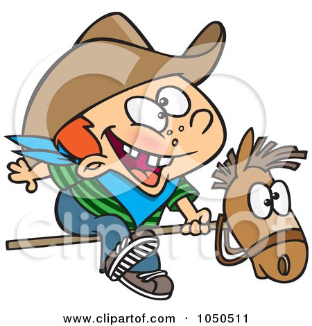 Royalty-Free (RF) Clip Art Illustration of a Kid Cowboy Riding A Stick Pony by toonaday