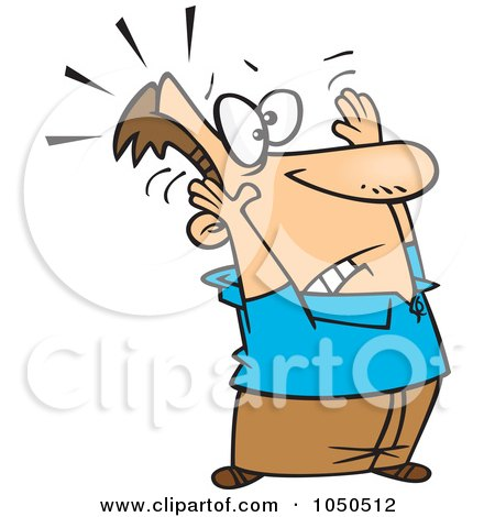 Royalty-Free (RF) Clip Art Illustration of a Man Holding Up His Arms In Surrender by toonaday