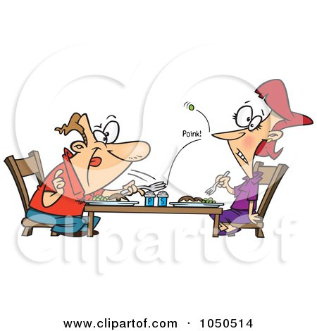 Royalty-Free (RF) Clip Art Illustration of a Cartoon Man Flicking A Pea At His Wife Over Dinner by toonaday