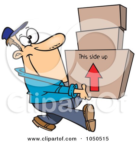 Royalty-Free (RF) Clip Art Illustration of a Happy Mover Man Carrying Boxes by toonaday