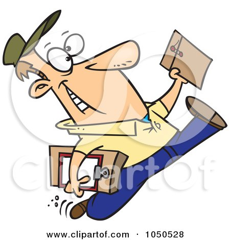 Royalty-Free (RF) Clip Art Illustration of a Cartoon Courier Man Delivering An Envelope by toonaday