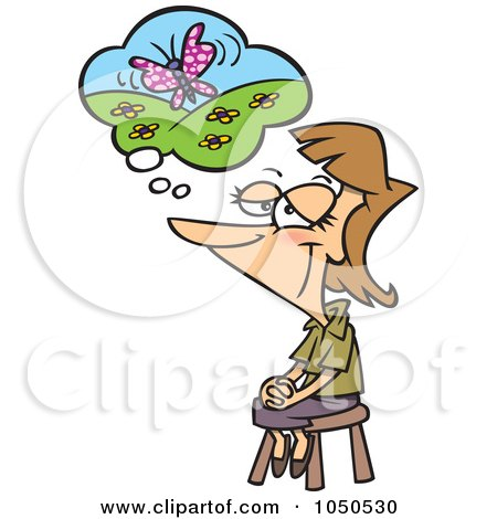 Royalty-Free (RF) Clip Art Illustration of a Woman Thinking Of Her Happy Place by toonaday