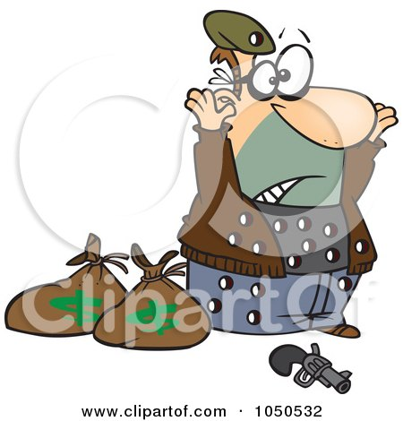 Royalty-Free (RF) Clip Art Illustration of a Surrendering Bank Robber Riddled With Holes by toonaday