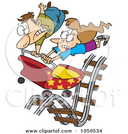 Royalty-Free (RF) Clip Art Illustration of a Couple Hitting Ups And Downs On A Roller Coaster by toonaday