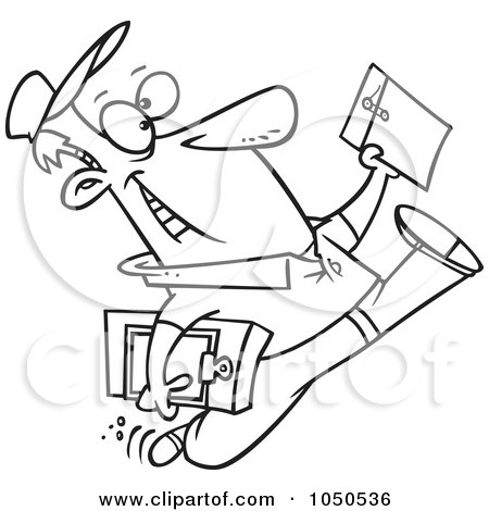 Royalty-Free (RF) Clip Art Illustration of a Line Art Design Of A Cartoon Courier Man Delivering An Envelope by toonaday