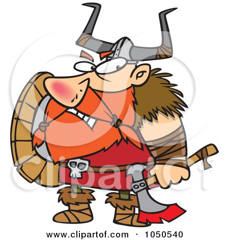 Royalty-Free (RF) Clip Art Illustration of a Grumpy Viking Holding An Axe And Shield by toonaday