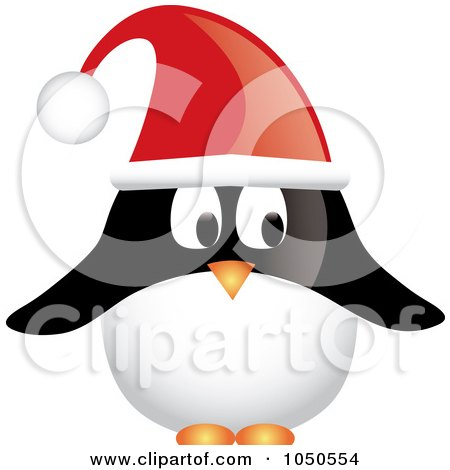 Royalty-Free (RF) Clip Art Illustration of a Christmas Penguin Wearing A Santa Hat by Pams Clipart
