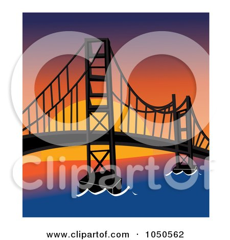 Royalty-Free (RF) Clip Art Illustration of The Golden Gate Bridge, San Francisco, At Sunset by Pams Clipart