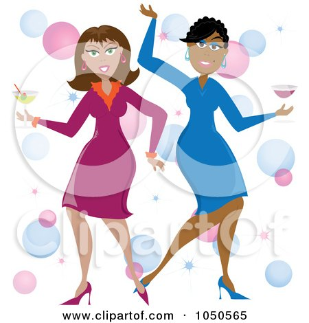 Royalty-Free (RF) Clip Art Illustration of Funky Black And White Women Dancing With Cocktails by Pams Clipart
