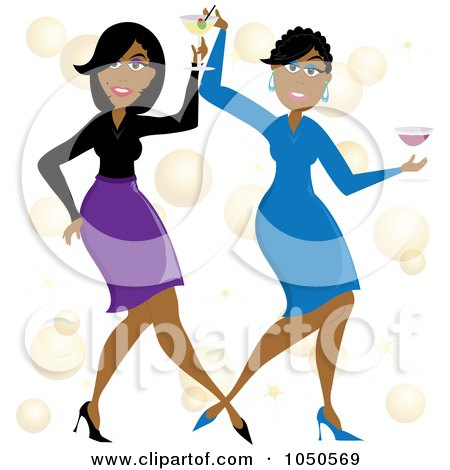 Royalty-Free (RF) Clip Art Illustration of Funky Black Women Dancing With Cocktails by Pams Clipart