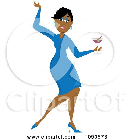 Royalty-Free (RF) Clip Art Illustration of a Funky Black Woman Dancing With A Cocktail by Pams Clipart