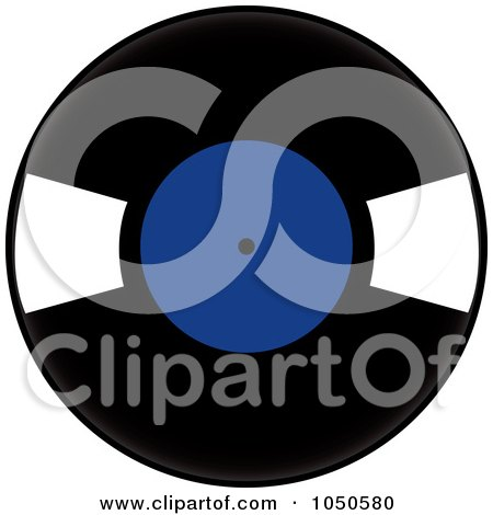 Royalty-Free (RF) Clip Art Illustration of a Black And Blue Vinyl Record Album by Pams Clipart