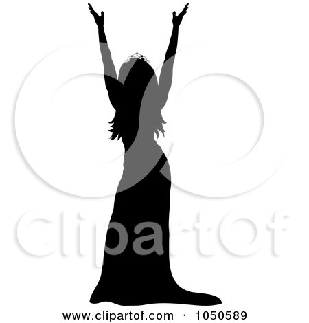 Royalty-Free (RF) Clip Art Illustration of a Miss America Pageant Winner Holding Up Her Arms by Pams Clipart
