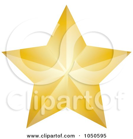 Royalty-Free (RF) Clip Art Illustration of a Golden Faceted Star by Pams Clipart