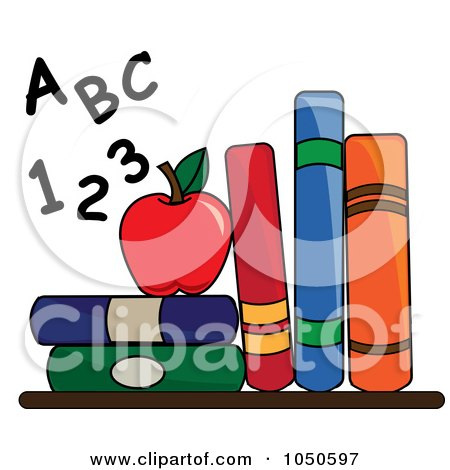 Royalty-Free (RF) Clip Art Illustration of Letters And Numbers By An Apple And School Books by Pams Clipart
