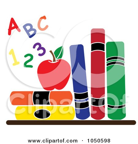 Royalty-Free (RF) Clip Art Illustration of Colorful Letters And Numbers By An Apple And School Books by Pams Clipart