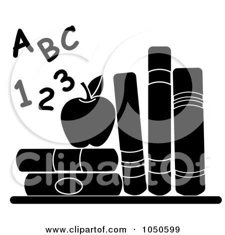 Royalty-Free (RF) Clip Art Illustration of Black And White Letters And Numbers By An Apple And School Books by Pams Clipart