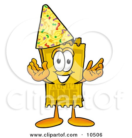 Clipart Picture of a Yellow Admission Ticket Mascot Cartoon Character Wearing a Birthday Party Hat by Toons4Biz