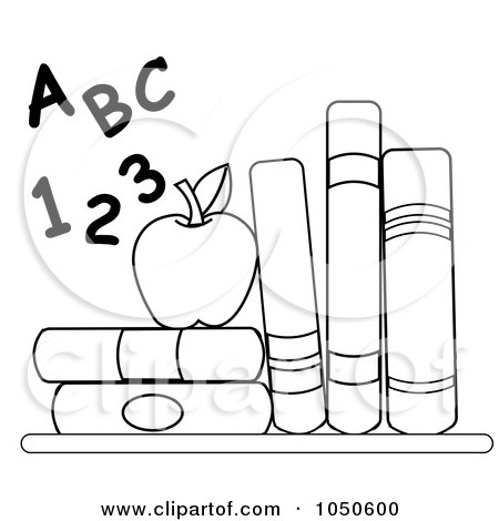 Royalty-Free (RF) Clip Art Illustration of an Outline Of Letters And Numbers By An Apple And School Books by Pams Clipart