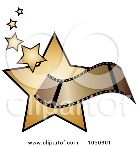 Royalty-Free (RF) Clip Art Illustration of a Film Strip Over Golden Stars by Pams Clipart