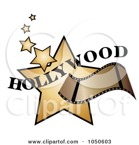 Royalty-Free (RF) Clip Art Illustration of a Film Strip Over Golden Hollywood Stars by Pams Clipart