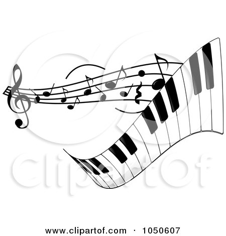 Royalty-Free (RF) Clip Art Illustration of a Wavy Keyboard With Music Notes by Pams Clipart
