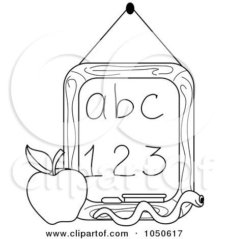Royalty-Free (RF) Clip Art Illustration of an Outline Of A Worm And Apple In Front Of A Letter And Number Chalkboard by Pams Clipart