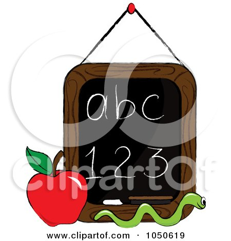 Royalty-Free (RF) Clip Art Illustration of a Worm And Apple In Front Of A Letter And Number Chalkboard by Pams Clipart
