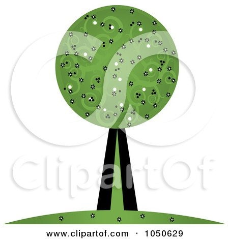 Royalty-Free (RF) Clip Art Illustration of a Retro Tree With Swirl Foliage by Pams Clipart