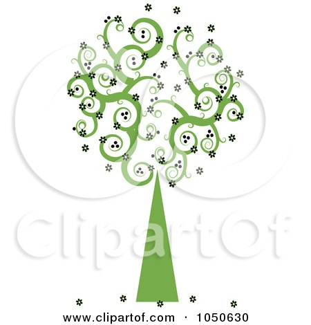 Royalty-Free (RF) Clip Art Illustration of a Green Swirly Foliage Tree With Black Flowers by Pams Clipart
