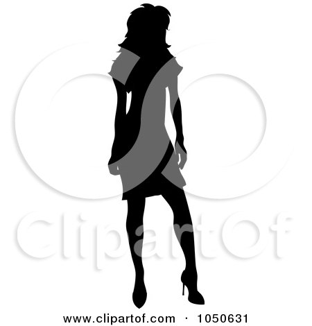 Royalty-Free (RF) Clip Art Illustration of a Sexy Silhouetted Woman Posing In A Dress - 2 by Pams Clipart