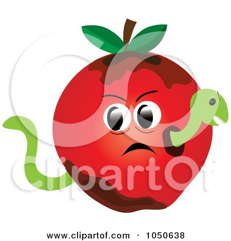 Royalty-Free (RF) Clip Art Illustration of a Worm In A Bad Apple by Pams Clipart