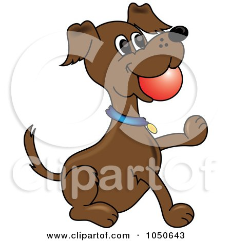 Royalty-Free (RF) Clip Art Illustration of a Fetching Dog With A Ball In His Mouth by Pams Clipart