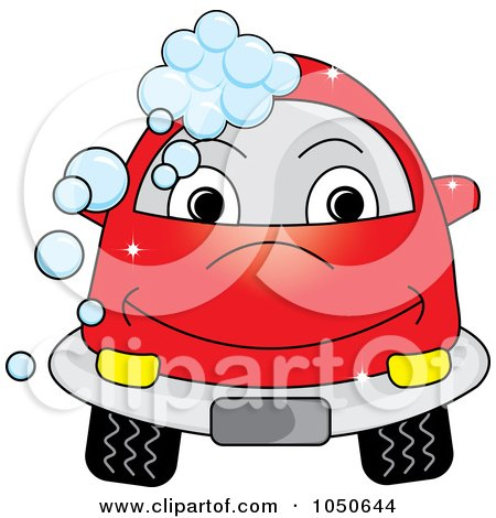 Royalty-Free (RF) Clip Art Illustration of a Red Car With Soap Bubbles by Pams Clipart