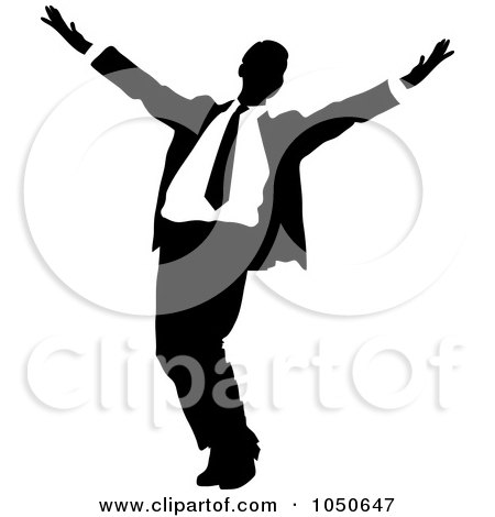 Royalty-Free (RF) Clip Art Illustration of a Happy Black And White Businessman by Pams Clipart
