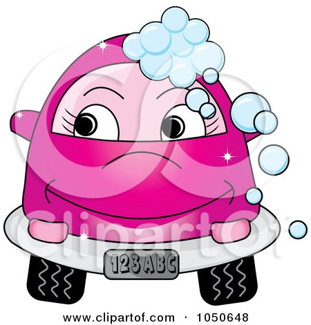 Royalty-Free (RF) Clip Art Illustration of a Happy Pink Car With Soap Bubbles by Pams Clipart